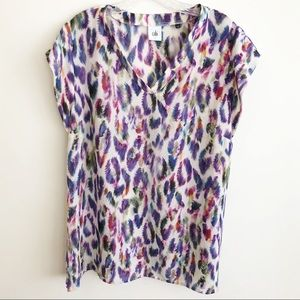 CAbi Plume Top Purple Feather Novelty Print Large